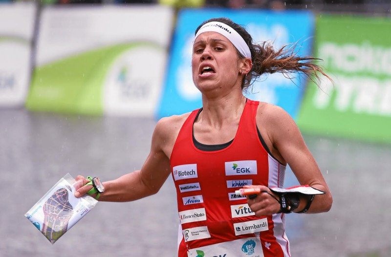 NEUCHATEL/PLACE-DES-HALLES, 16MAY2021 - Elena Roos (SUI)  captured during the Sprint Finals Women at the EGK European Orienteering Championships EOC 2021 in Neuchatel/Switzerland.   swiss-image.ch  / Photo Remy Steinegger